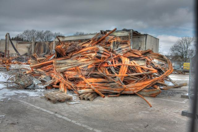 HDR, High Dynamic Range image, brand, scrap, scrap heap, iron, steel, pallets, building