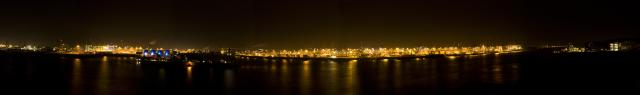 Panorama, Hamburg, Altona, night, port, Köhlbrandbrücke
